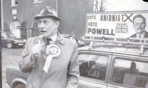 Enoch Powell on the campaign trail as Unionist candidate for South Down in 1983 (he represented this constituency from 1974 to 1987).