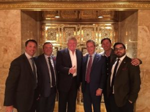 Raheem Kassam (far right) visiting the U.S. President-Elect at Trump Tower, with Banks, Farage and colleagues from UKIP and Breitbart