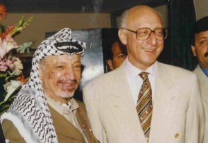 Gerald Kaufman (who died last month prompting a by-election in Manchester Gorton) seen here with Yasser Arafat, chairman of the Palestine Liberation Organisation (PLO).