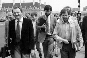 (left to right) Ken Livingstone, Sinn Fein - IRA godfather Gerry Adams, and Jeremy Corbyn in London, 1983