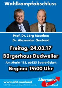 A campaign poster for the anti-immigration party AfD, advertising a Saarbrücken event addressed by two AfD leaders
