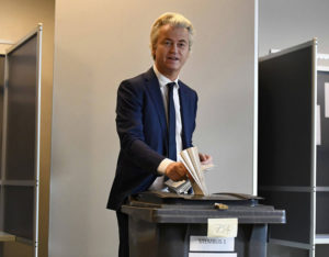 Geert Wilders casting his vote in today's Dutch general election