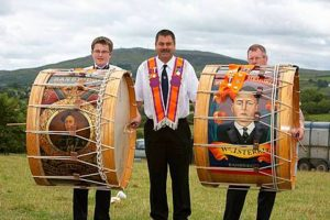 Orangemen with the traditional lambeg drums during 12th July celebrations in Dromara, Co Down
