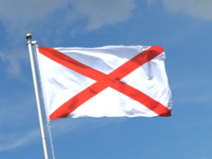 st pats flag on blue background