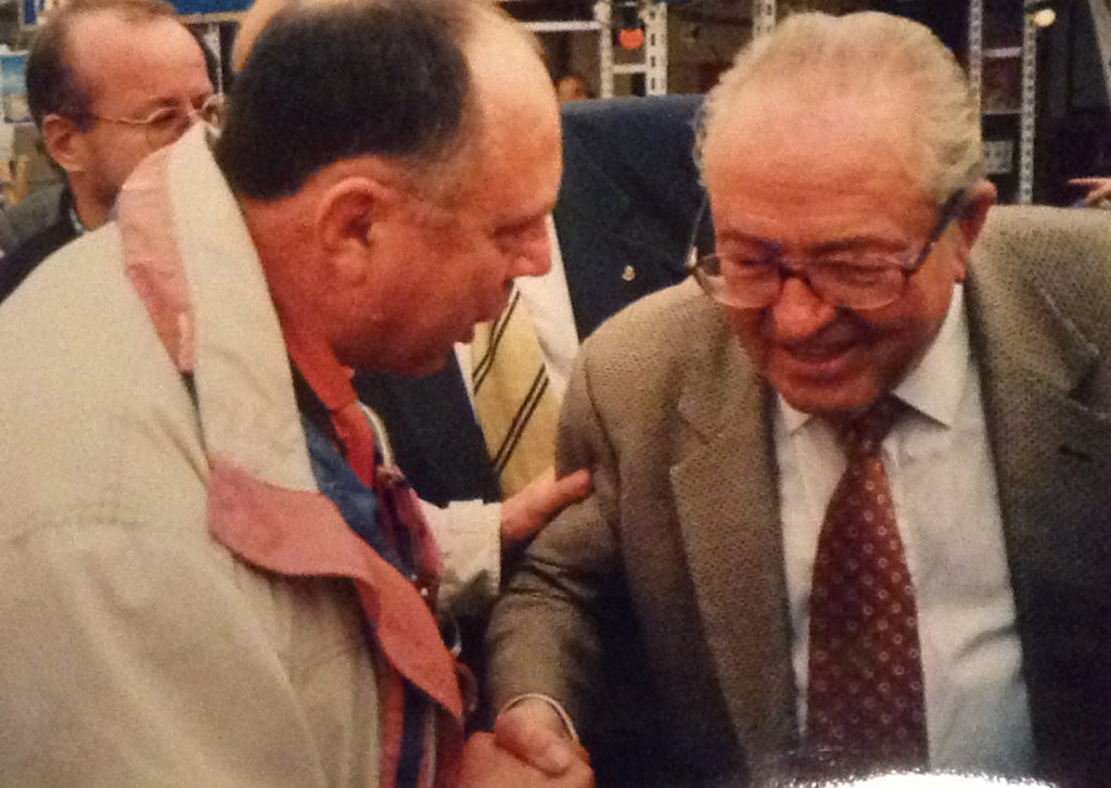 Arthur Flinders with Jean-Marie Le Pen at the FN's Bleu-Blanc-Rouge festival in 1999