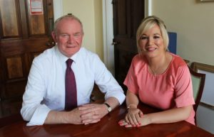 Michelle O'Neill with the late IRA terrorist godfather Martin McGuinness