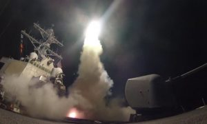 One of 59 Tomahawk Cruise missiles launched from US ships in the Red Sea attacking Syria today