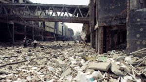 Aftermath of the IRA's Manchester bomb in 1996. This bomb's materials were supplied by Col. Gaddafi, sworn enemy of this week's Manchester terrorists.
