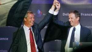 Nicolas Dupont-Aignan (right), seen here with his former ally Nigel Farage, is likely to lose his Assembly seat after reneging on a proposed pact with the FN.
